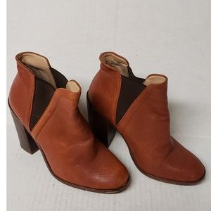 Zara Woman Cognac Leather Ankle Boots